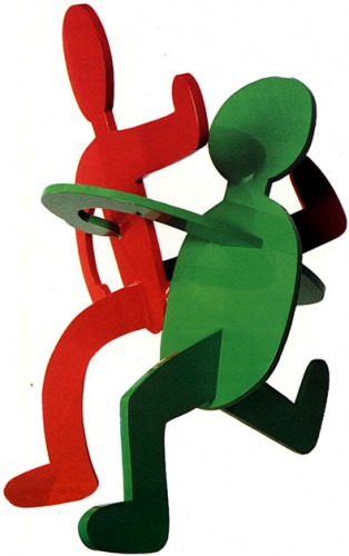 Capoeiro Dancers, 1987, Polyurethane Paint on Aluminum, 28.5 x 28 x 25 inches